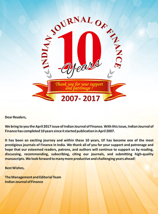 Indian Journal of Finance 10 Years